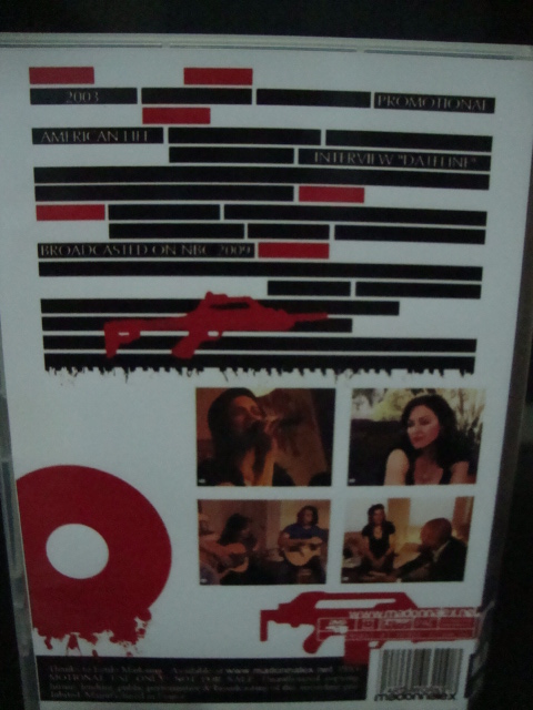 DVD Madonna American Life Dateline back