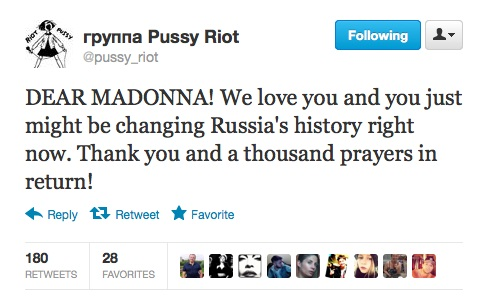 Pussy-Riot agradece Madonna pelo apoio na Rússia no Twitter - MDNA Tour