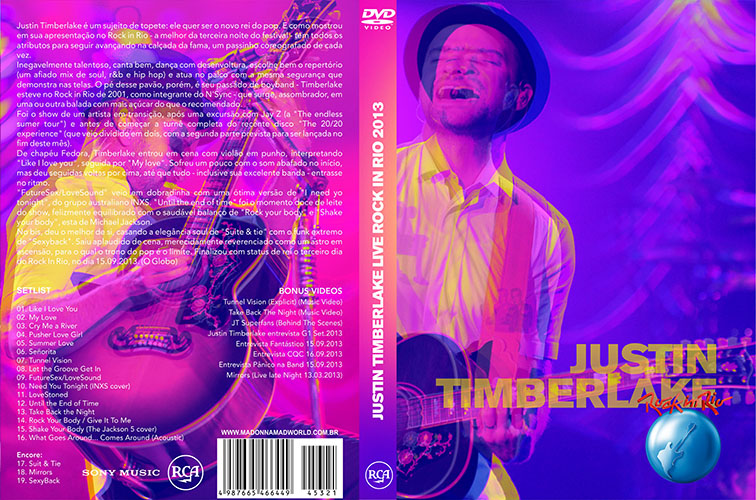 dvd justin timberlake rock in rio 2013