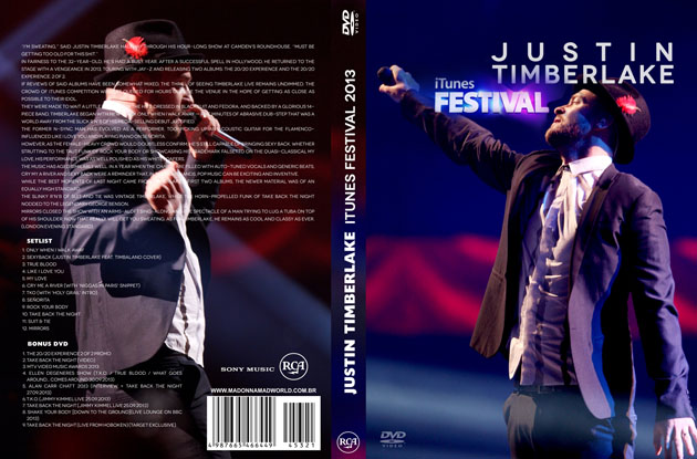dvd justin timberlake itunes festival + vma 2013 allan carr capa dvd