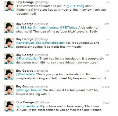 boy george fala de Madonna novamente