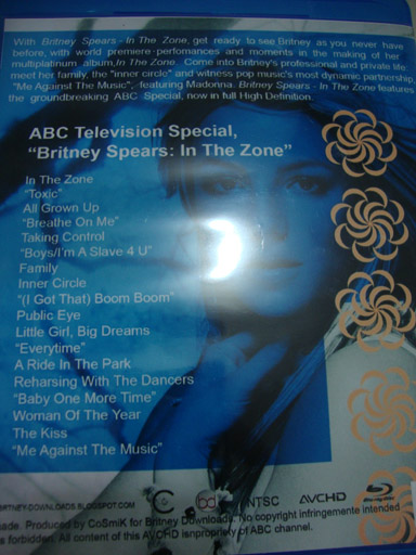 blu-ray britney spears in the zone backcover