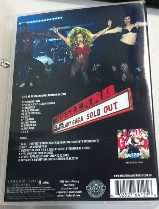 dvd lady gaga live at roseland artpop artrave ball tour back