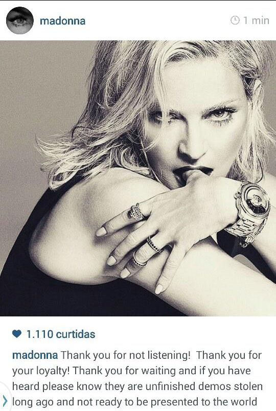 MADONNA FALA SOBRE O ROUBO DO NOVO ÁLBUM NO INSTAGRAM