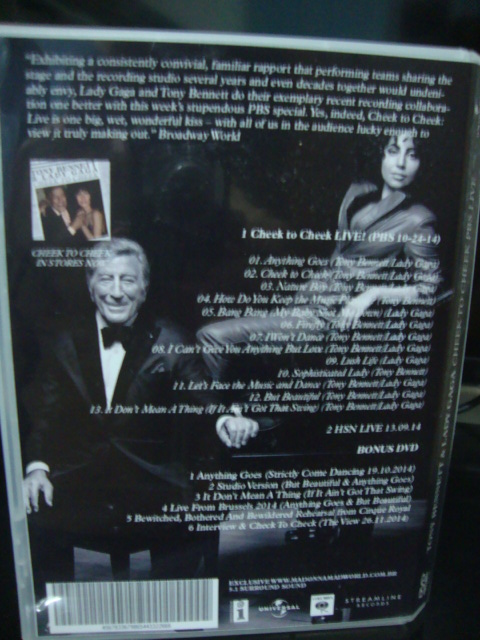 dvd lady gaga e tony bennett cheek to cheek PBS + back