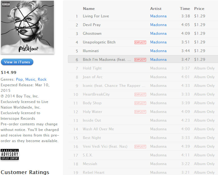 madonna rebel heart track-listing oficial itunes