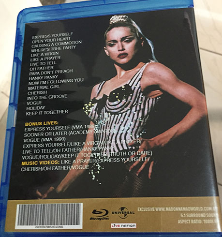 Bluray Madonna Blond Ambition Japan back 2